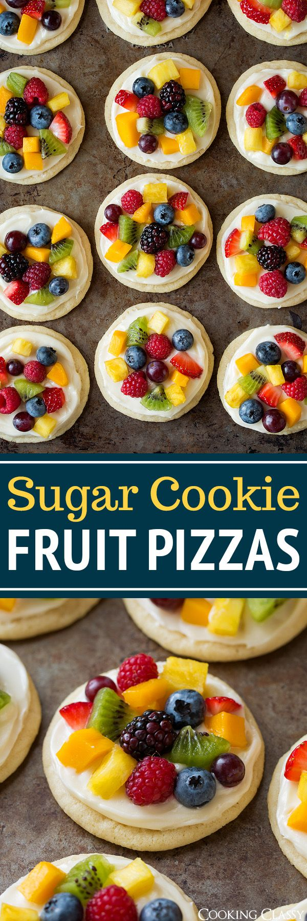 Sugar Cookie Fruit Pizzas (Chewy Version)