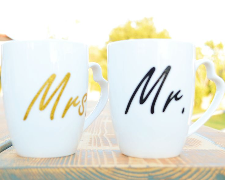 Porcelain handmade white mugs for couples. Find them in ETSY. White hand-painted mugs for him and her.  Buy them for 15.90€ Ships in all European Union countries. Mugs for gift Quote mugs Funny mugs Pretty, cute mugs, Mrs and Mr mugs