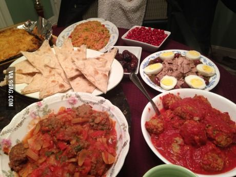 Tunisian dinner- two different varieties of meatballs, cous cous, salata michuya(sp?), and fresh dates