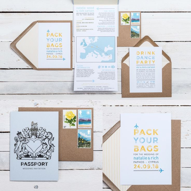 PASSPORT TO PARADISE Wedding Stationery collection! Available in ANY COLOUR!   It's time to pack your bags and fly away for your wedding, but wait… have your guests got their passports? This is a clever and fun design your guests will love, perfect for any holiday wedding.   If you have any questions or to find out about the available products in this collection and their prices, please visit the website.