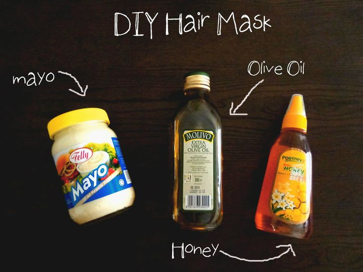 DIY Mayonnaise Hair Mask    2 tbsp. Mayo  1 tbsp olive oil  1 tbsp honey    Preparation:-  1. Mix the ingredient together to form a thick paste.  2. Apply the mixture to dry and untangled hair. Avoid applying to your roots.  3. Put your hair in a shower cap and wait at least 30 to 60 minutes {depend on your hair condition}.  4. Rinse your hair in a lukewarm shower and wash with a bit of shampoo. {no conditioner required}.  5. The mask should be done 2 times a week.