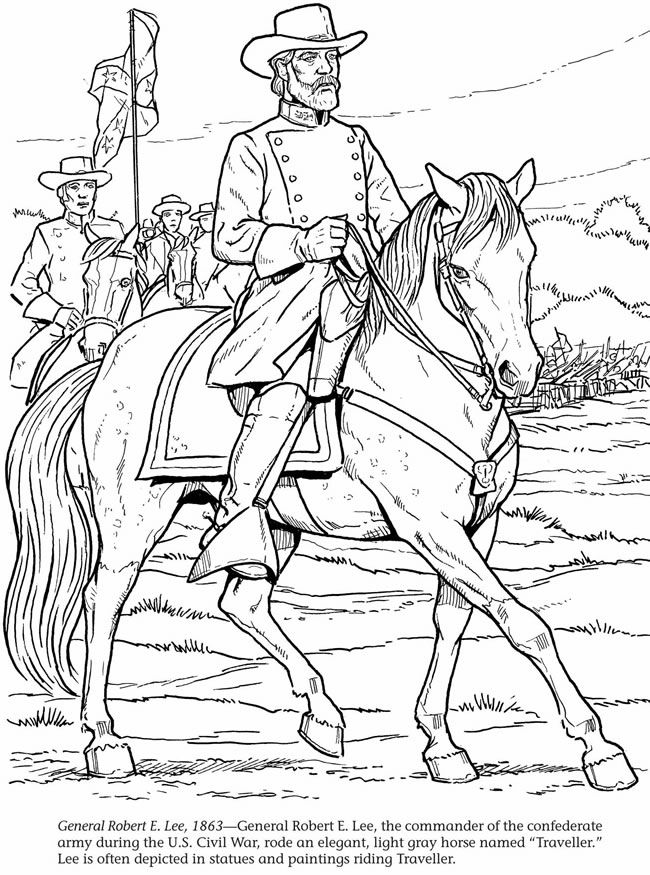 general robert e lee 1863 printable c3 w12 - Civil War Coloring Pages Kids