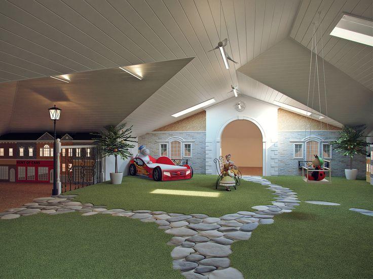 Игровая комната в мансарде: как реализовать мечту ребёнка