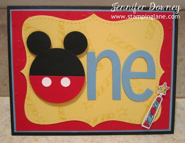 Jennifer Downey & Stampin' Up! www.stampinglane.com  Big News, Mickey Mouse, Punch Art, Birthday, Card