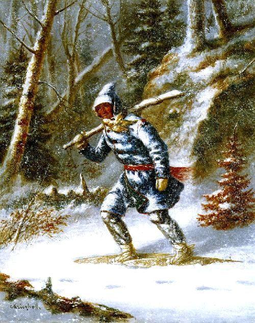 Cacciatore Indiano con Racchette da Neve XVII