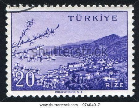 TURKEY - CIRCA 1959: A stamp printed by Turkey, shows Turkish city, Rize, circa 1959. - stock photo