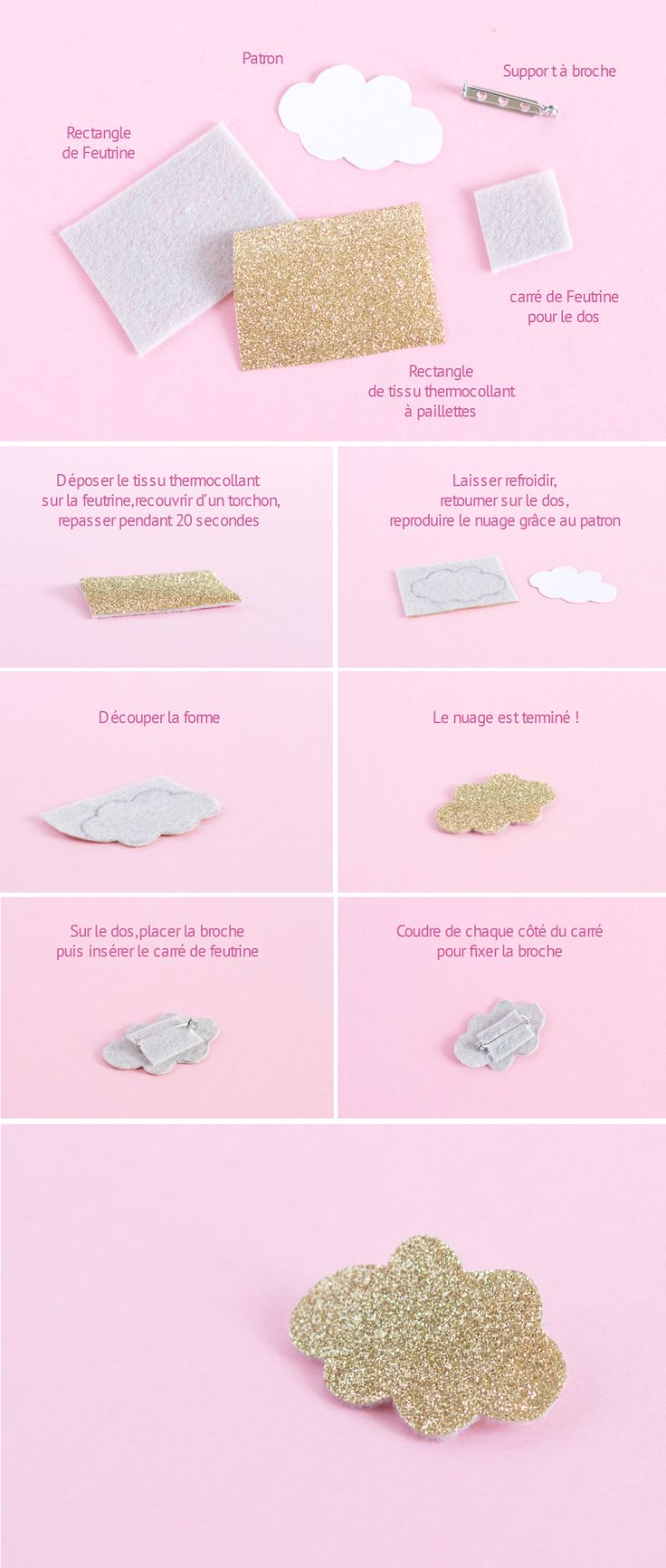 DIY Broches à paillettes nuage - brooche glitter cloud - paperboat.fr