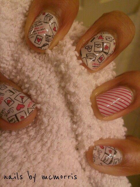 #nailwrap #mcmorris #nailart #lovelettersjn #happybirthday #hearts #valentinenails