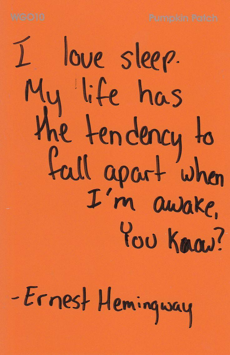 Ernest Hemingway and sleep