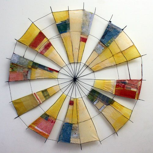 Emily Payne - Pinwheel 3 	 , 2011 Sculpture   35 x 35 in Wire, book covers, paper, glue #paper_art