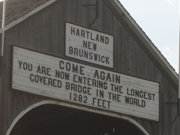 The entrance to the world's longest covered bridge in Hartland.