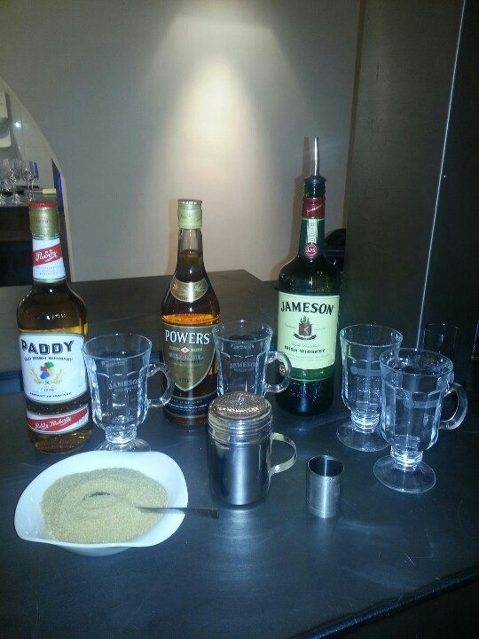 All ready for Irish Coffee demonstration