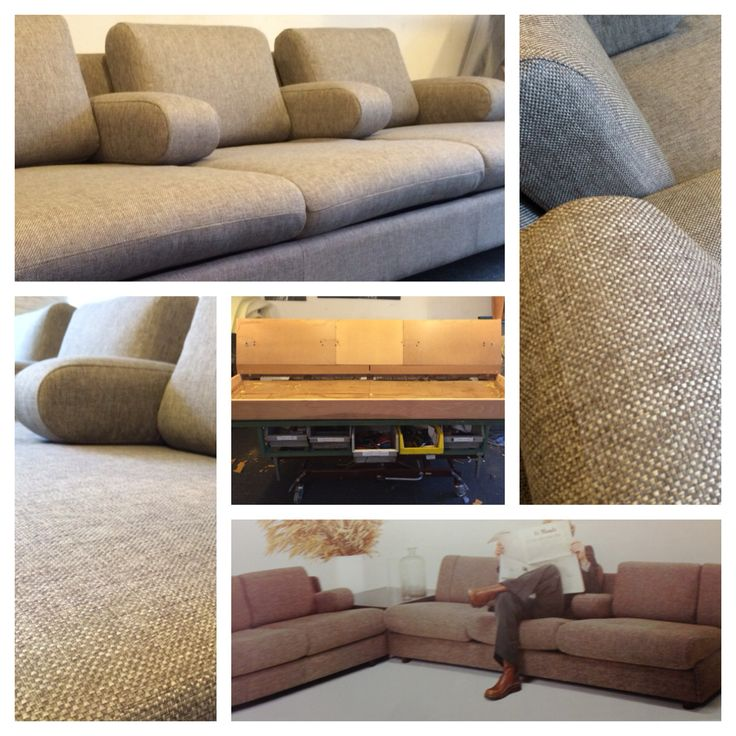 Vintage Leolux sofa 704 before and after restauration.