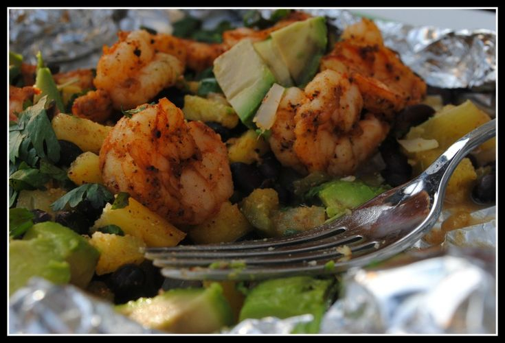 foil packet shrimp, black bean, and pineapple meal...easy clean-up and super healthy!