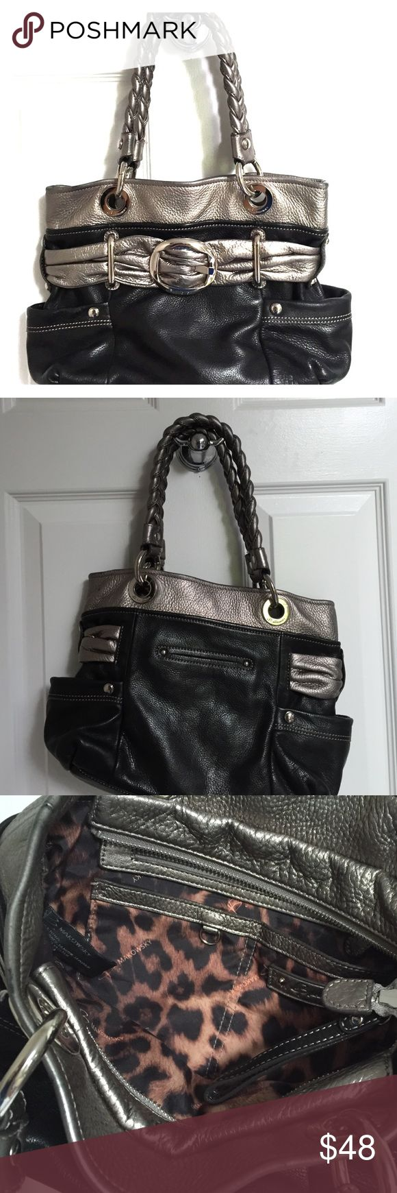 B Makowsky leather black and silver shoulder bag Cute black and silver bag with silver hardware.  Good for winter wear.  Two side pockets and one phone pocket in back.  On the inside is a zippered pocket.  Also can zip up.  I never zipped up though.  Euc b. makowsky Bags Shoulder Bags