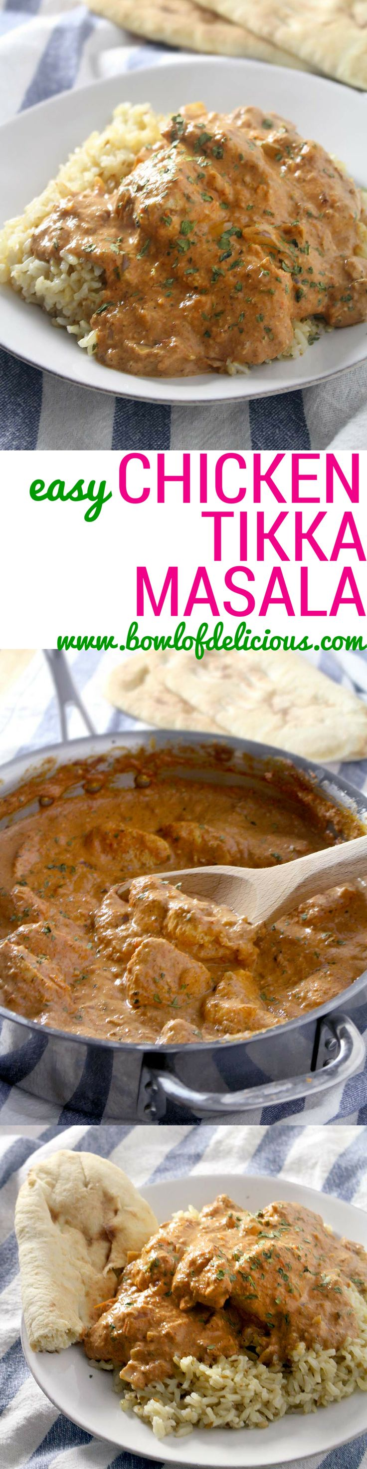 Easy Chicken Tikka Masala- An easy-to-make popular Indian meal that's guaranteed to be healthier (and cheaper!) than at your favorite Indian restaurant without sacrificing taste.