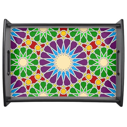 Islamic geometric pattern service trays