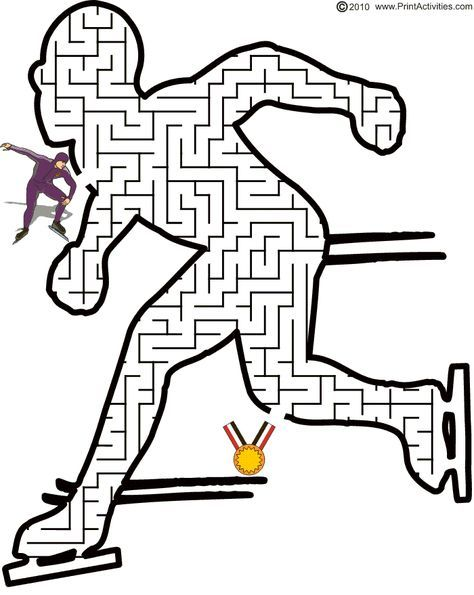 Winter Olympics Worksheets | Help the speed skater thru the skater maze to get the gold medal.