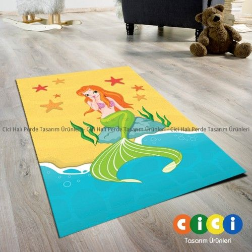 Deniz Kızı Turuncu Kız Çocuk Odası Halısı