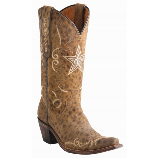 Dallas Cowboys Lucchese Womens Camel Cheetah Swarovski Boot - Width B | Dallas Cowboys Clothing | Dallas Cowboys Store - Dallas Cowboys Pro Shop