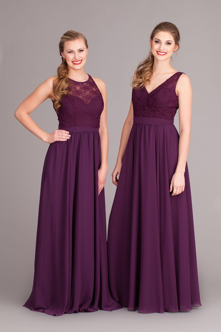 These lace and chiffon, purple bridesmaid dresses are gorgeous for any season!