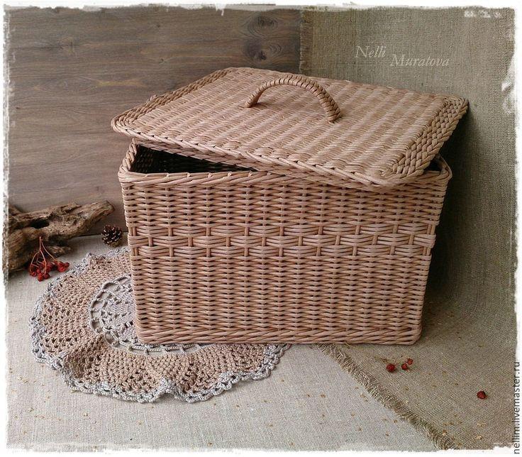 """Купить Короб плетеный с крышкой """"Тепло дома"""" - коричневый, плетеный короб, короб с крышкой"""