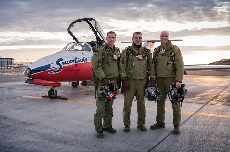 ~ An early start to a January day in Moose Jaw as (L-R) Capt Philippe Roy, Maj Patrick Gobeil and Capt Brent Handy prepare to fly a morning practice with the team.