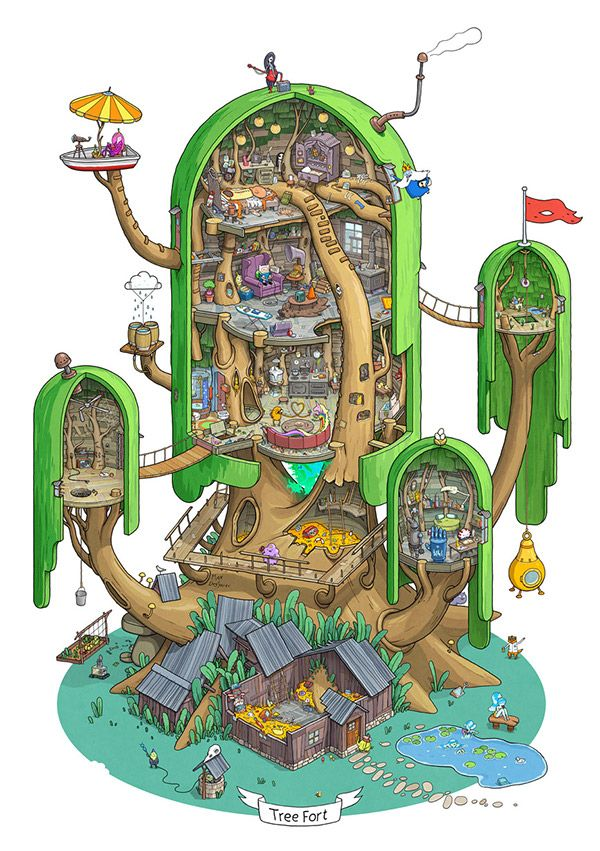 Cut-away illustration of Tree Fort from Adventure Time show.