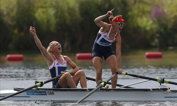 GOLDEN GIRLS: Katherine Copeland and Sophie Hosking celebrate after taking gold in the lightweight women's double sculls