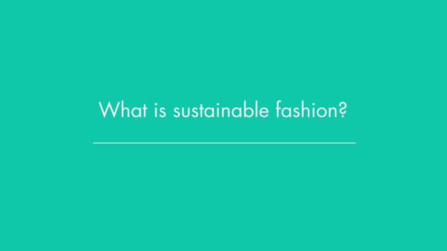 "What is ""sustainable fashion?"""