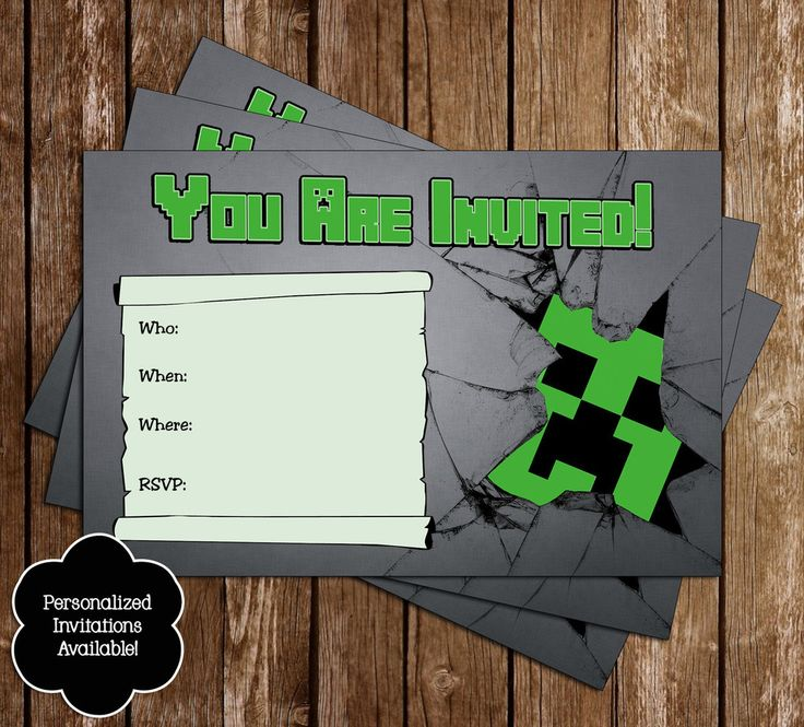 23 best images about Brayden bday party on Pinterest - mine craft invitation template