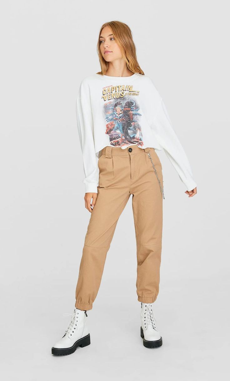 Twill trousers with chain detail - Women's Trousers | Stradivarius United Kingdom