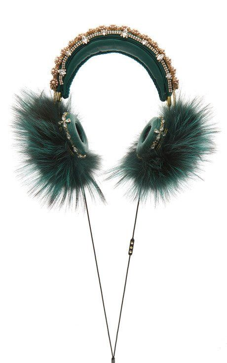 Green Embroidered Nappa Leather Headphones With Fox Fur Trim by Dolce &…