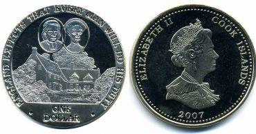"""Острова Кука 1 доллар 2007 """"Англия ждёт, что каждый человек выполнит то, что должен. Дом Нельсонов."""
