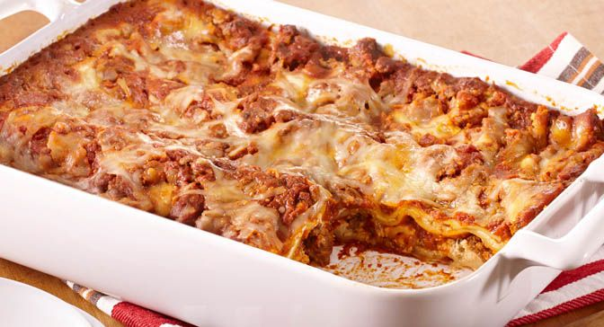 No precooking is required for the lasagna noodles in this lasagna. The noodles become tender as the lasagna bakes.