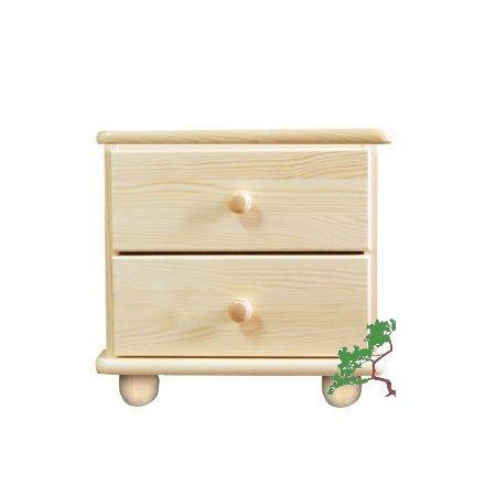 Szafka nocna sosnowa z dwiema szufladami o wysokości całkowitej 41 cm. Wykonana jest z litego drewna sosnowego.
