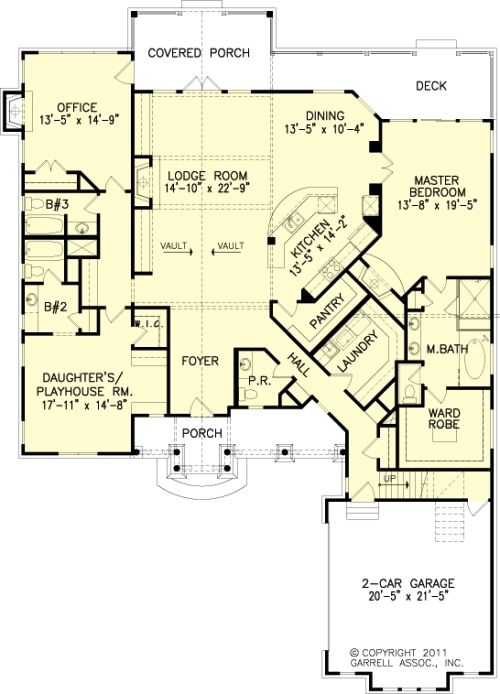 The Cherokee Cottage House Plans First Floor Plan - House Plans by Designs Direct.
