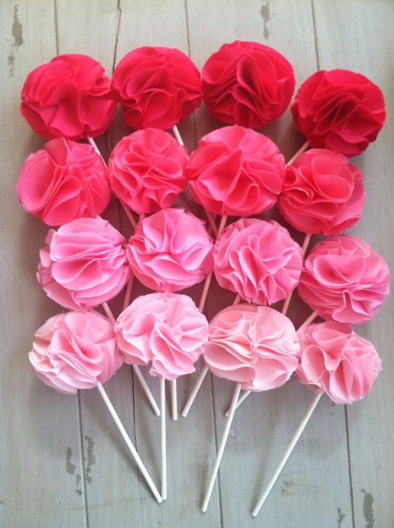 Ombre Colored Fabric Flower Cupcake Toppers Cupcake
