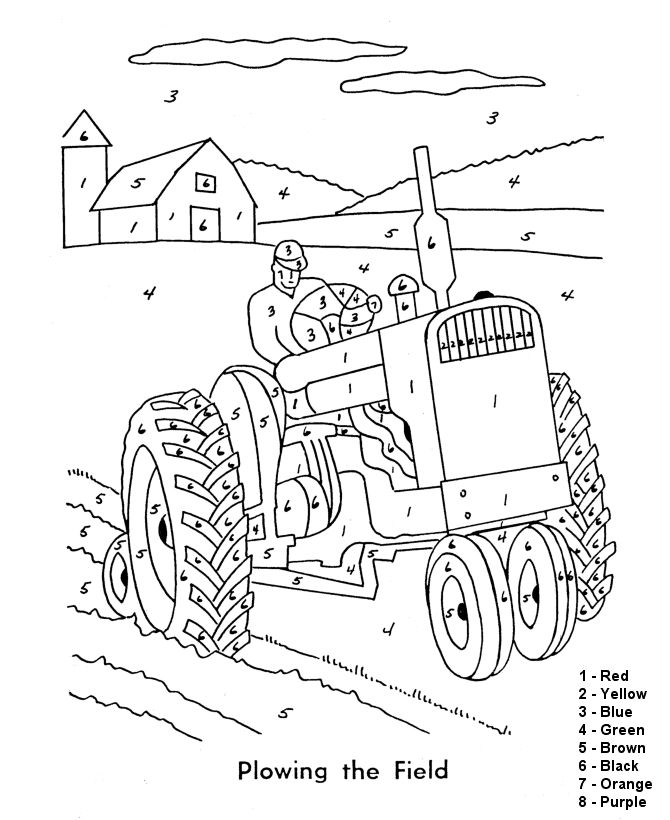 color by number coloring page free printable easy beginner farm tractor coloring pages featuring farm animals