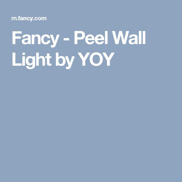 Fancy - Peel Wall Light by YOY