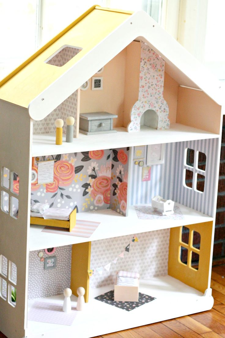 Diy modern dollhouse the pretty life girls give your playroom a stylish update with this modern dollhousedollhouse ideaspaper housesthe