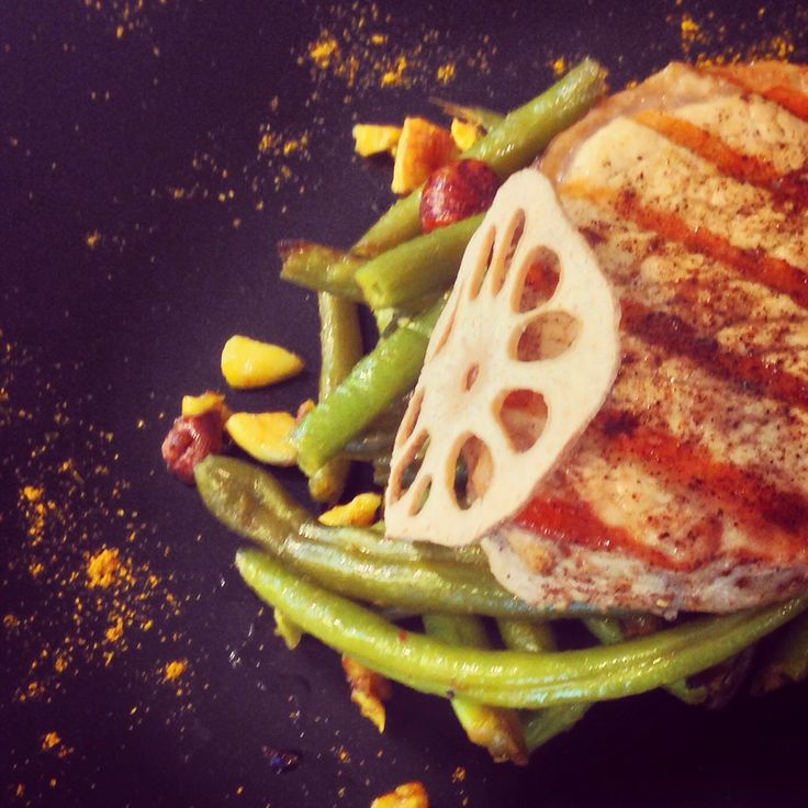 Pork cutlets with curry-mustard glazed green beans and lotus root  #foodstyling #Romania #Chef #Bogdan Alexandrescu #Dexter #Romania #food #photo