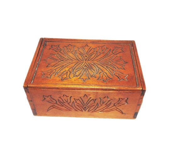 SALE beautiful vintage wooden box traditional rustic by SunnyCsc
