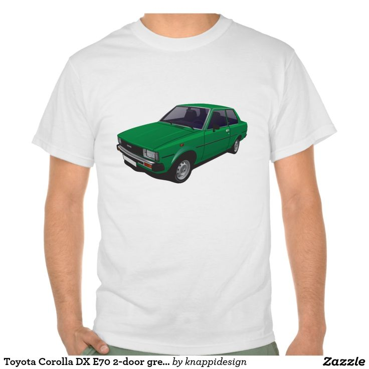 Toyota Corolla DX E70 2-door version green t-shirt  #toyota #corolla #corolladx #corollaE70 #tshirt #tshirt #shirt #automobile #cars #bilar #bil #auto #tröja #japan #japanese #nippon #80s #70s #toyotacorolla
