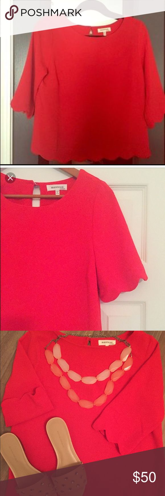 Monteau red crepe top Gorgeous red crepe top. Cute scalloped sleeves and bottom Monteau Tops Blouses
