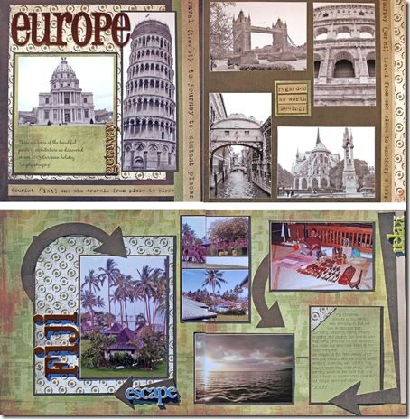 scrapbooking travel layouts   ... for scrapbookers who want to do more layouts in less time and prefer