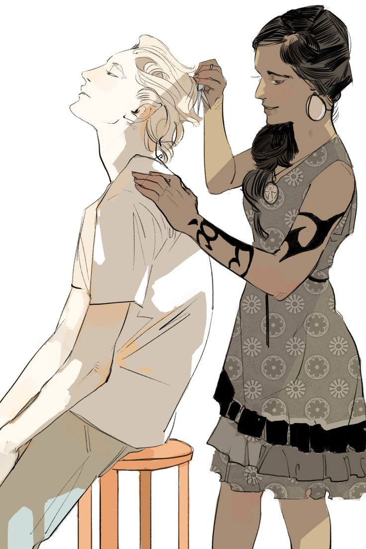 "Eighth of Cassandra Jean's Lady Midnight postcards — Cristina cuts Mark's hair.  She set her scissors aside and cleared her throat. ""There,"" she said. ""Would you like to see?""  He straightened up in the chair. Cristina was bending down; their heads were on a level. ""Lean closer,"" he said. ""For years I have had no mirror; I have learned to make do. The eyes of another can be a mirror more effective than water. If you will look at me, I can see my reflection in yours."""