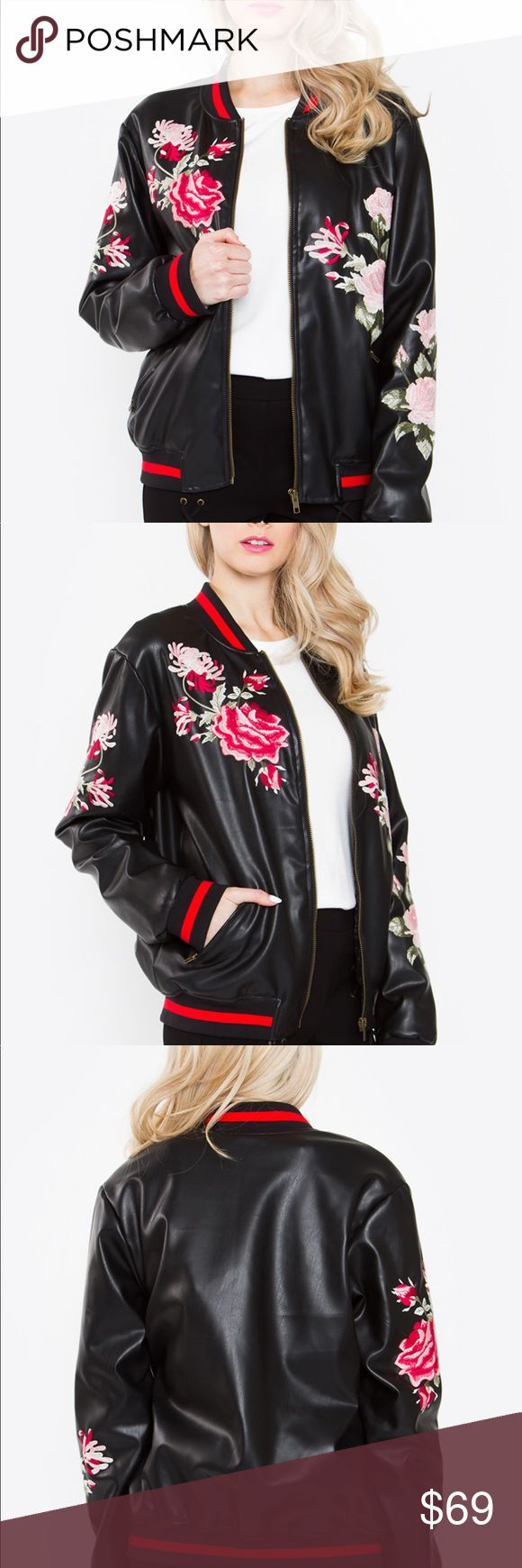 """⚜️ Embroided Bomber Jacket This embroidered bomber jacket is a true showstopper! So obsessed with this  baseball inspired look with embroidered florals for a more classic feminine look! Pair with a shirt and jeans to complete your look.  Fabric Content Self: 60% Polyester, 40% Polyurethane Lining: 96% Polyester, 4% Spandex  Size + Fit - Model is wearing size S - Measurements taken from size S - Length: 23.75""""  BRAND NEW IN PLASTIC Jackets & Coats"""
