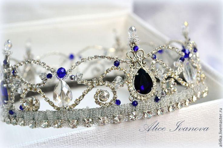 """Купить Хрустальная корона """"Сапфира"""" - серебряный, сапфир, сапфировый, синий, глубокий синий, корона, невеста"""