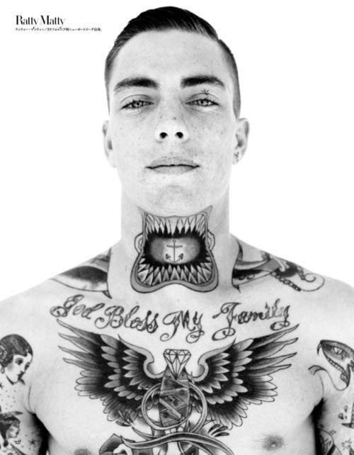 "Mens Chest Tattoo ""God Bless My Family"""
